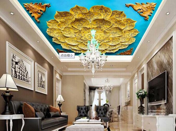 3D Golden Lotus 7833 Ceiling WallPaper Murals Wall Print Decal Deco AJ WALLPAPER