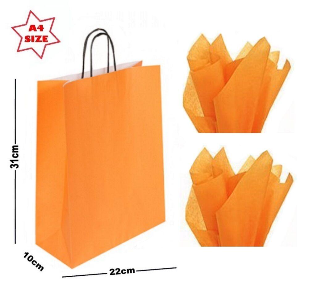 Orange A4 Paper Party Gift Bags & Tissue Wrap  Boutique Shop Carrier Bag