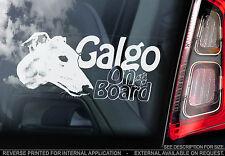Galgo - Car Window Sticker - Dog on Board Sign Gift - Spanish Greyhound - TYP1