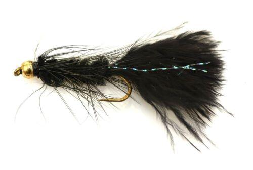 Per 8 Fishing Flies Size 12 HOT ITEM****** Woolly BuggerBlack//  Gold Bead