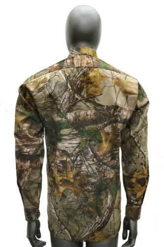 Mens Realtree Woodland Long Sleeve Shirt Jungle Camo Print Hunting Fishing M-2XL