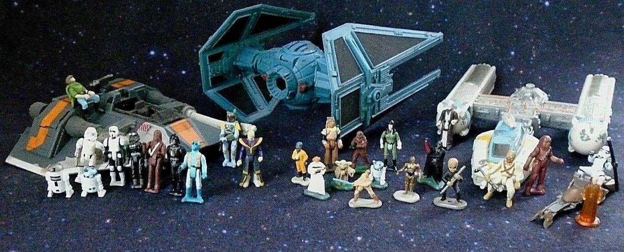 Vintage Star Wars Ships & Mini Figures Boba Fett Chewbacca Yoda R2D2 C3PO & More