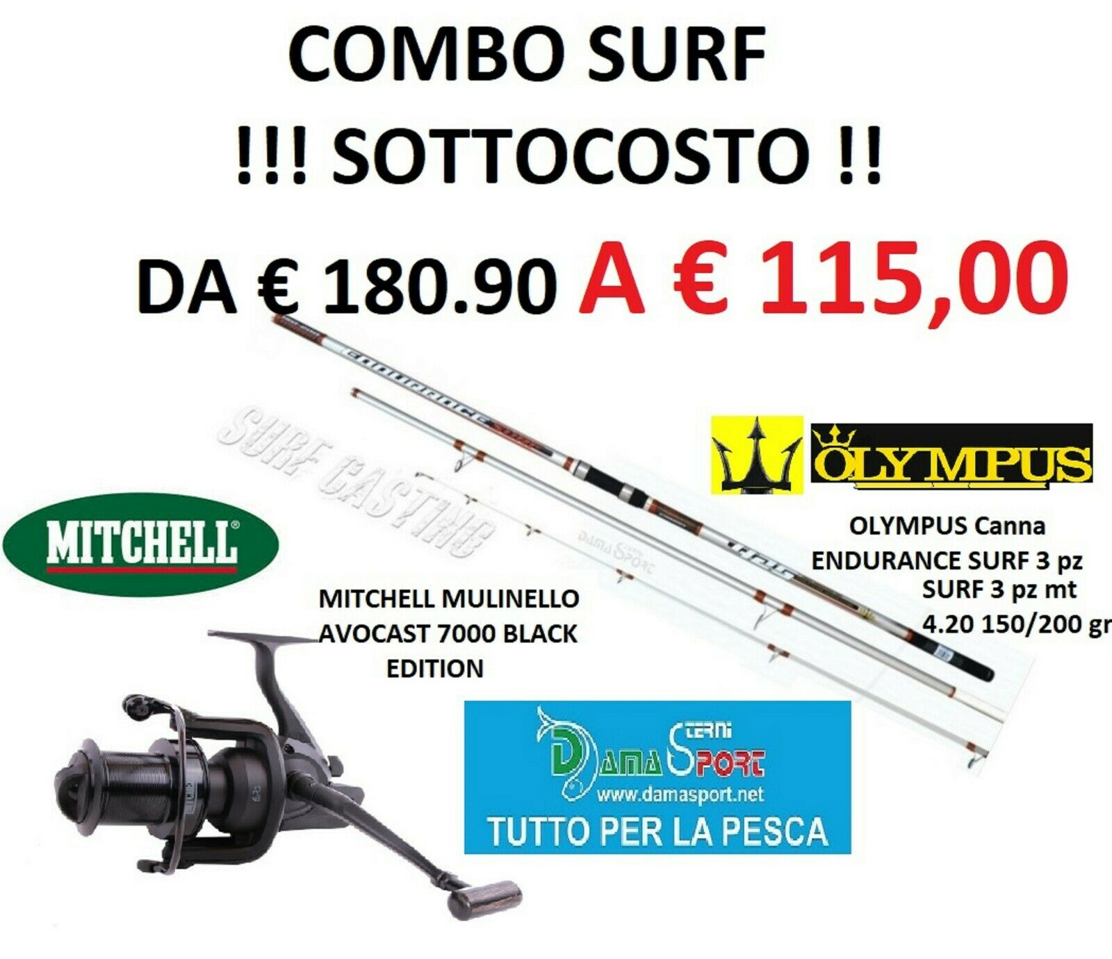 Kit Combo Surf Casting Olympus Endurance  Mulinello Mitchell Avocast 7000