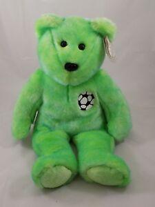 MWMT KICKS the Green Soccer  Bear TY Beanie Baby and Buddy Set