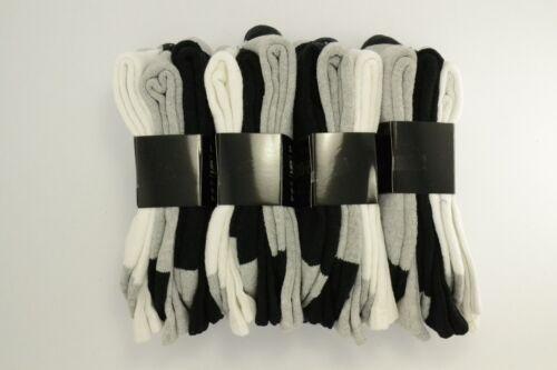 3 or 12 Pairs Men Crew Sport Socks Cotton Calf Cushioned plain color two tones