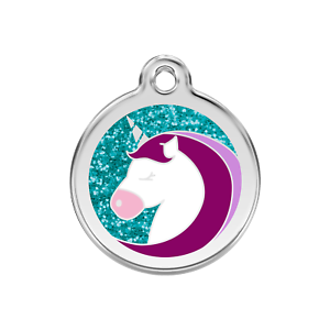 Medaille-LICORNE-brillante-a-paillettes-en-acier-RED-DINGO-gravee-chien-chat