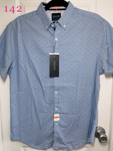 Mens Denim/&Flower Small//Medium//Large//XL Slim Fit Button Front Short Sleeve Shirt
