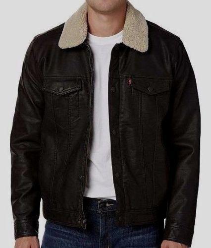 77ffe44eedff8 Levi s Jacket Trucker Biker Black Faux Leather Removable Collar Mens L for  sale online