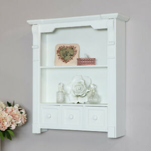 Weiss-Holz-Wand-Badezimmer-Schrank-Regaleinheit-Wohnzimmer-Flur-Display