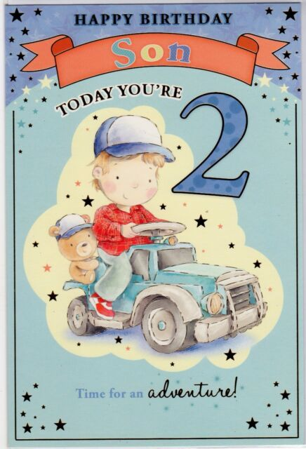 Toy Car Son 2nd Happy Birthday Greetings Cards Age 2 Greeting Card