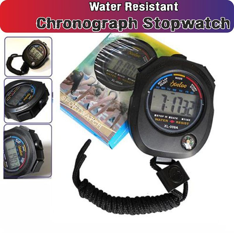 Water Resistant ChronographTimer xl-009A Stopwatch Sport Counter DigitalOdometer