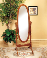 Brand Home Furnishing Oak Cheval Freestanding Oval Shape Mirror Home Decor