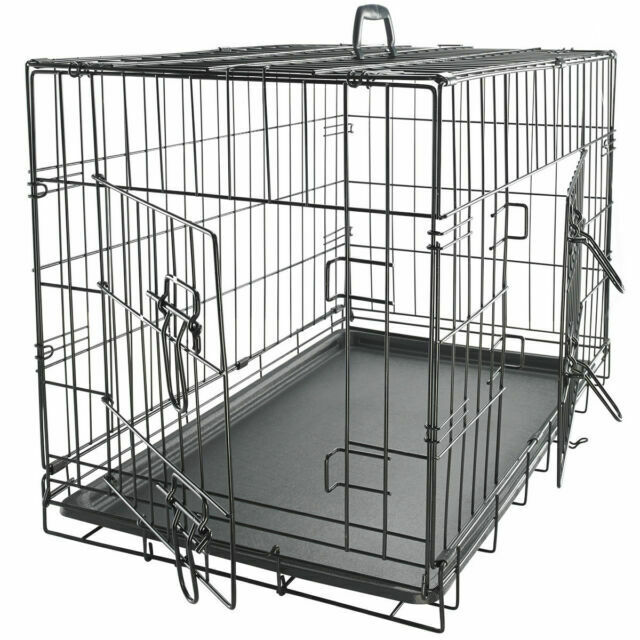 "30"" Dog Crate Folding Wire Metal Cage  Kennel With Tray Pan"