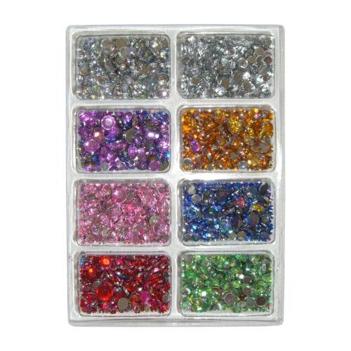 8 Farben in 3 Größen runde kleine Acryl-Strass-Steine//Schmucksteine 16g Packung
