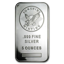 5 oz Sunshine Minting Silver Bar .999 Fine - SKU #83067