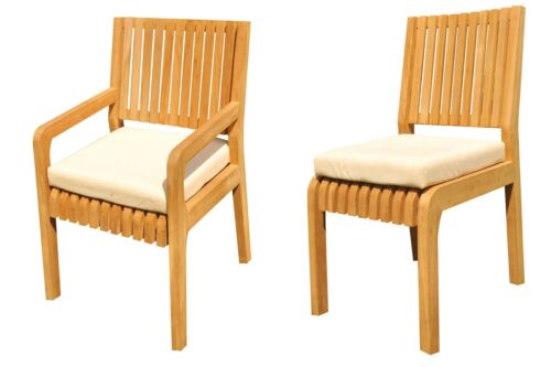 """5pc Grade-A Teak Dining Set 52"""" Round Table 4 Maldives Armless Chairs Outdoor"""