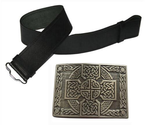 Herren Echtleder schwarz Kilt Gürtel /& Antik Schnalle Highland Kleid 2-tlg