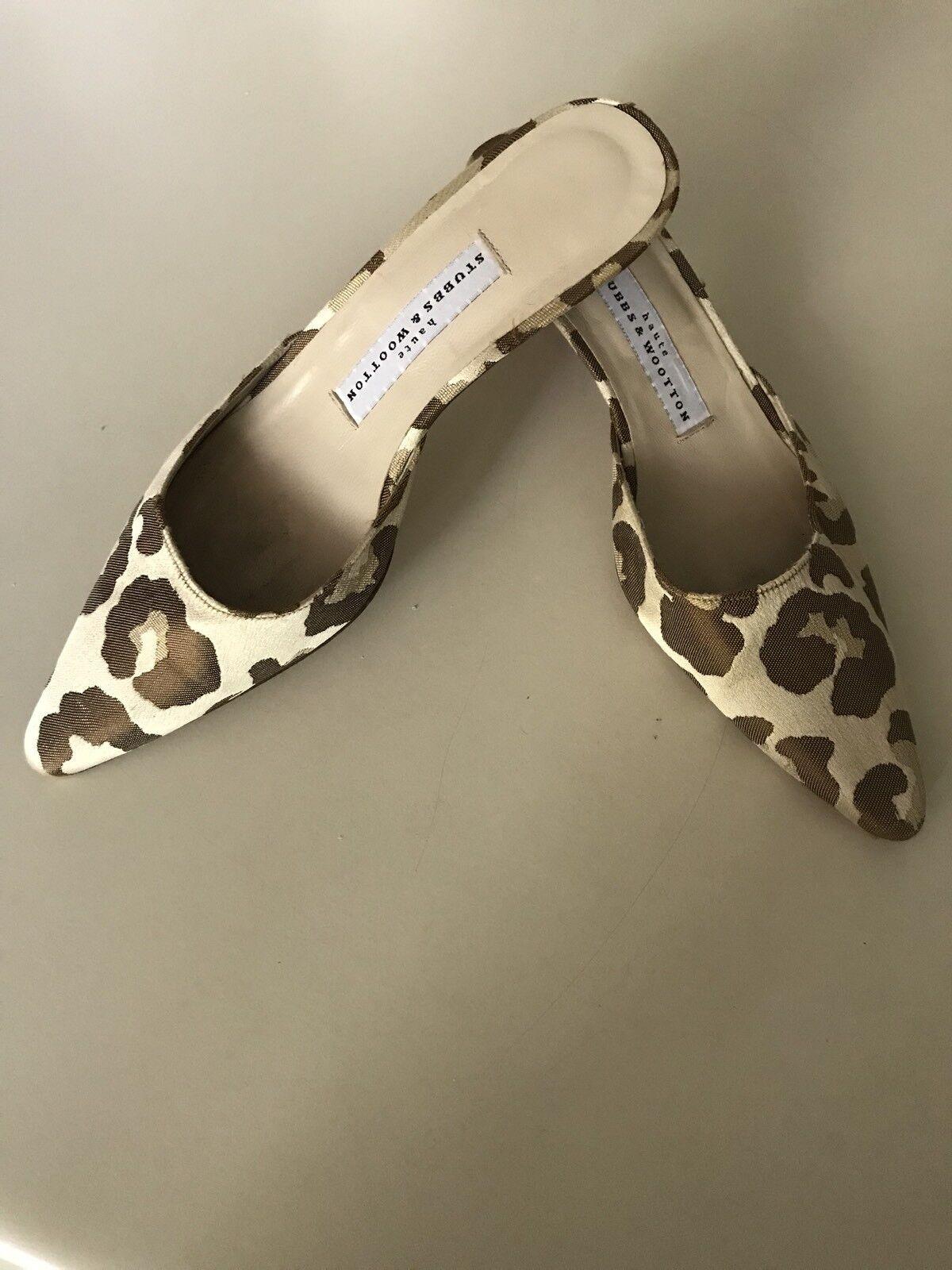 Stubbs & Wootton Haute EUC Tan Print Leopard Print Tan Mules Kitten Heels Size 6 1/2 B 5c2476
