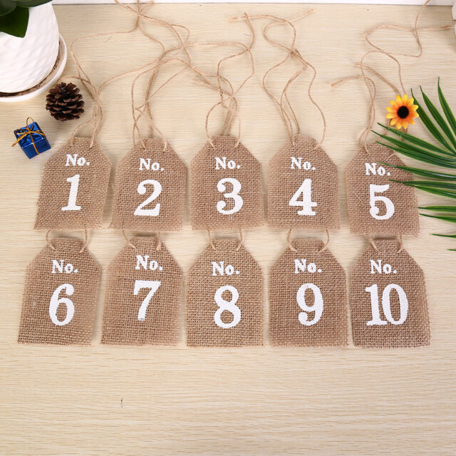 Hessian Square Table Numbers 1-10 Burlap Wedding Party Vintage Rustic Shabby