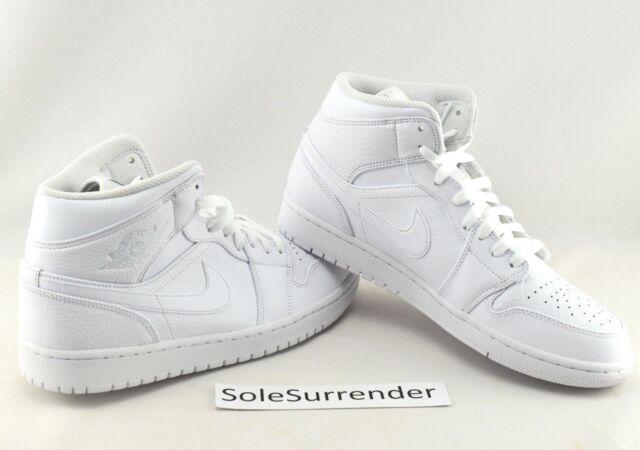 289187f2f8989 Air Jordan 1 Mid Triple White Basketball Shoes Size 12 Mens 554724-109