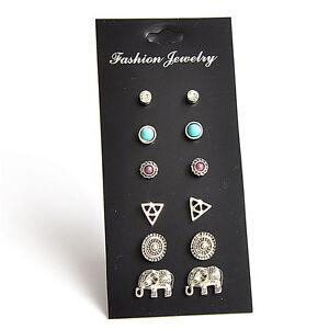 6Pairs-Set-Fashion-Women-Retro-Triangle-Elephant-Turquoise-Earrings-Stud-YJ