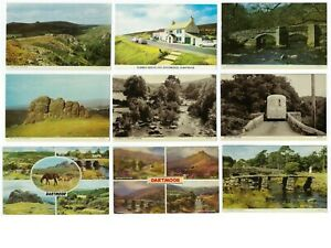 LOT-of-9-Dartmoor-Post-Bridge-Hay-Tor-Chrome-Vintage-Postcards-50s-amp-60s