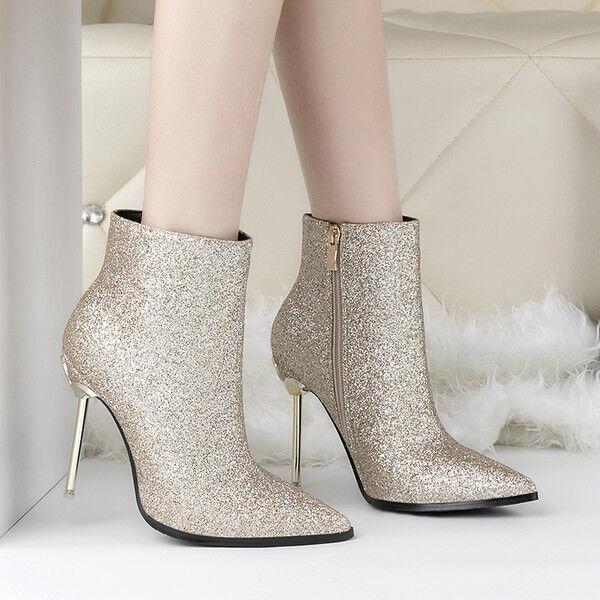 stivali stivaletti bassi stiletto  11 cm caviglia oro eleganti simil pelle 9539