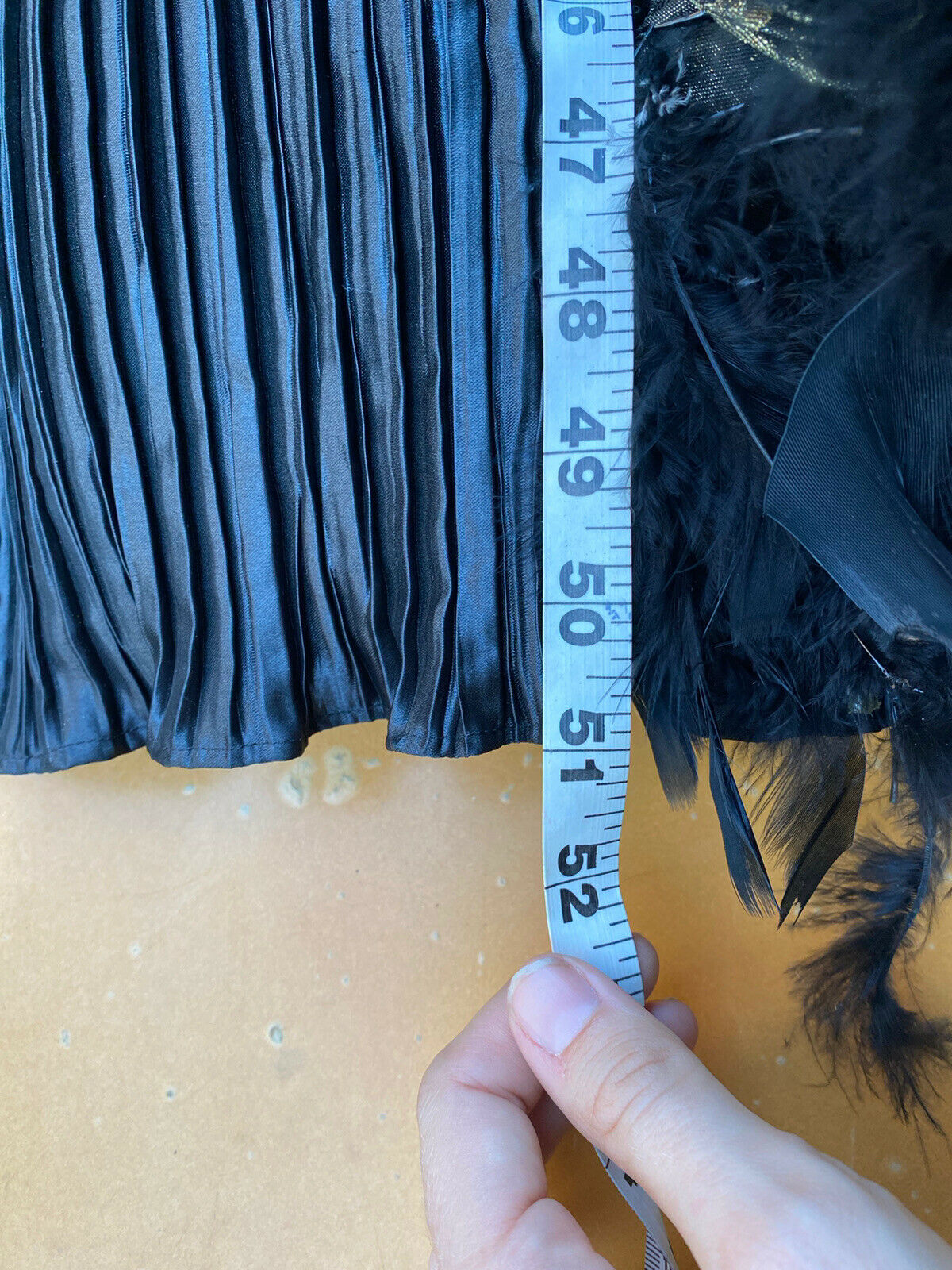 vintage black beaded feathered ball gown - image 11