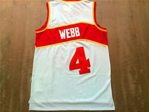24f1358ef NEW Atlanta Hawks Spud Webb  4 White Throwback Swingman Basketball ...