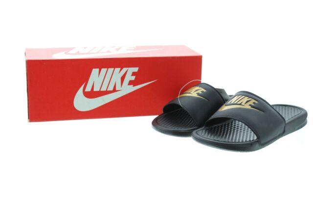 sneakers for cheap hot sales arrives Nike Benassi JDI Slide Sandals Men's Black/Metallic Gold, 343880 ...