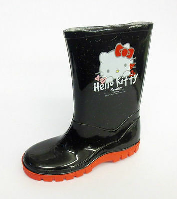 Girls Hello Kitty Black/Red Glitter Wellingtons- Great Price!