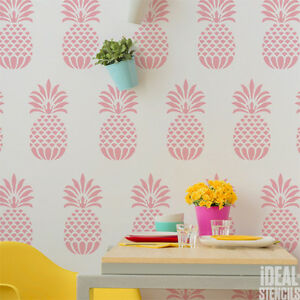 Image Is Loading Pineapple Stencil Wallpaper Effect Decor Paint Reusable  Wall