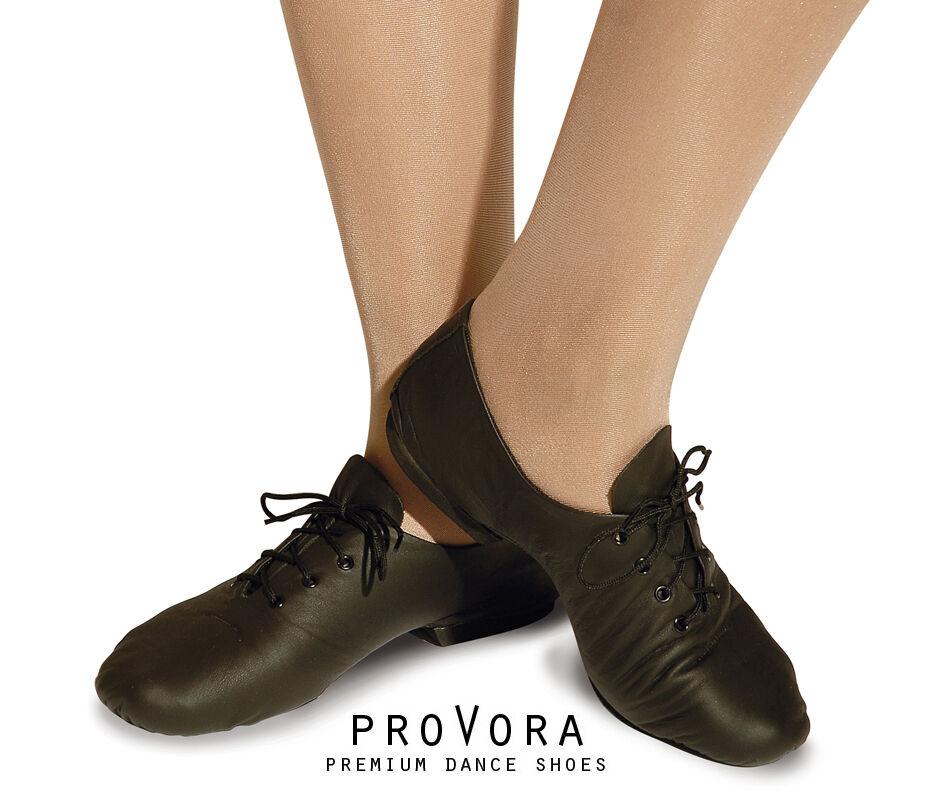 Childrens Girls/ Boys proVora BLACK Leather Split Sole Dance Jazz Shoes