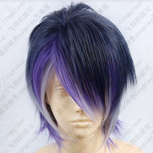 288 DIABOLIK LOVERS Sakamaki Reiji Short Blue mix Purple Cosplay Fashion Wig