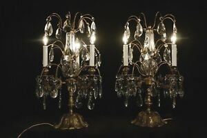 Details About Pair Of French Antique Style Girandole Chandelier Table Lamps Bronce Crystal