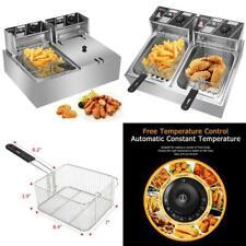 Commercial Deep Fryer 12l 5000w Professional Electric Countertop Dual Tank Steel