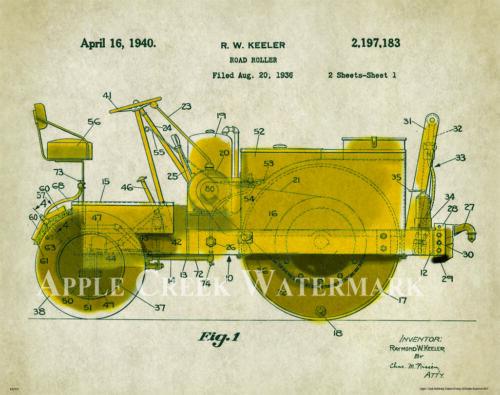 Road Roller Patent Art Print Poster Construction Equipment Vintage Parts  PAT347