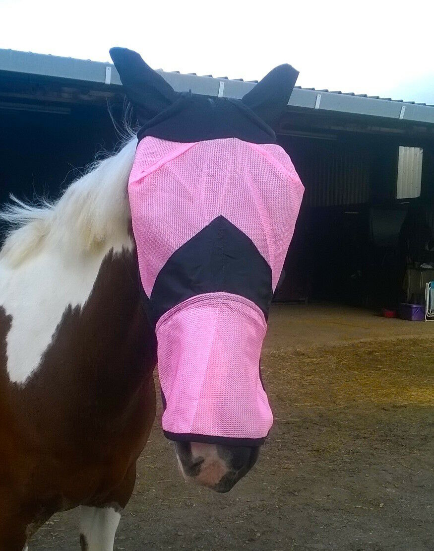NEW Fly Quality Fine Mesh Horse Cob Pony Full Face Fly NEW Mask Hood Ears long Nose Flap 7f9183