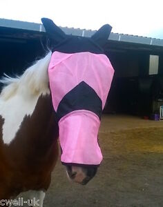 Fine-Mesh-Horse-Cob-Pony-Full-Face-Fly-Mask-Hood-With-Ears-long-Nose-Flap-6-99