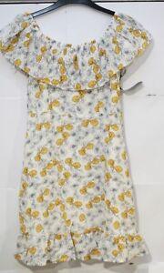 Goldie-Matilda-Jaune-Gris-Fleur-froncee-haut-et-bas-robe-petit-VR44-018