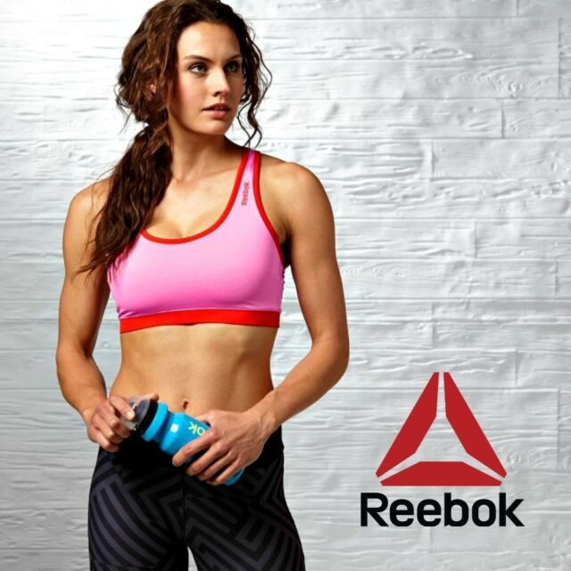 bae61c75c7 Reebok Playdry Womens SE Sports Bra Top Pink Work Out Fitness Gym Free  Posted