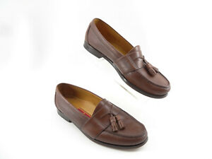 Cole-Haan-City-Brown-Leather-moc-toe-tassel-loafers-slip-ons-Mens-shoes-9-1-2-D