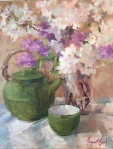 Cherry-Blossoms-Lilacs-Floral-20x16-Impressionism-Orig-Oil-Margaret-Aycock