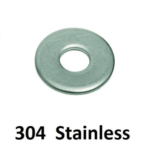 "Qty 300 Flat Mudguard Washer 316"" x 1 x 16g Stainless SS 304 A2 Penny Fender"