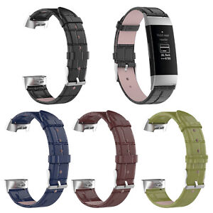 Replacement-Leather-Strap-for-Fitbit-Charge-3-Secure-Band-Metal-Buckle