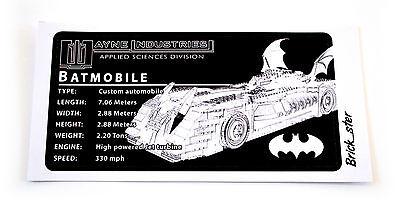 Lego 7781 7784 ETC CUSTOM PLAQUE STICKER for BATMOBILE MODELS TOYS DISPLAYS