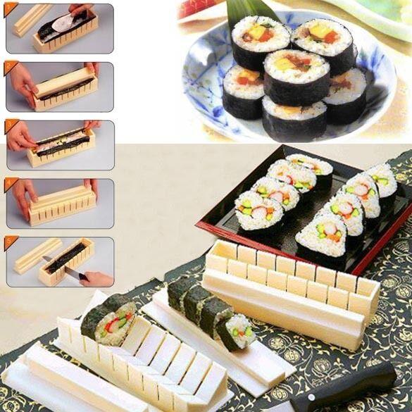 11x Sushi Maker Kit Rice Roll Mold Kitchen DIY Easy Chef Mould Roller Cutter Set