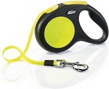 Flexi Neon Retractable Tape Dog Leash Small 16ft Max 33lbs