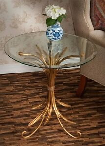 NEW HOLLY WOOD REGENCY Gold WHEAT Iron Side End Accent Table Beveled Glass