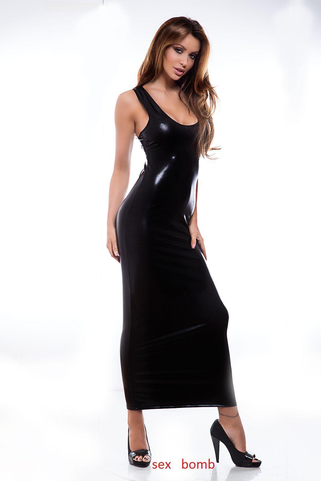 SEXY abito black vestito lungo WETLOOK taglie S M L XL CLUB fashion GLAMOUR